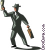 businessman with briefcase and newspaper Vector Clipart picture