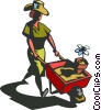 Vector Clip Art graphic  of a woman with a wheelbarrow