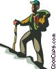 Vector Clipart picture  of a man hiking up hill