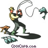 Vector Clip Art graphic  of a fisherman with fish