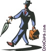 businessman with umbrella and suitcase Vector Clipart graphic