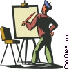 Artist with an easel Vector Clip Art image