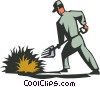 Vector Clipart illustration  of a farmer with a pitch fork