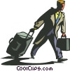 Businessman traveling with luggage Vector Clipart illustration