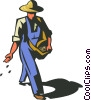 farmer planting seeds Vector Clipart graphic