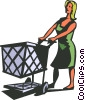 Woman with grocery cart Vector Clip Art image