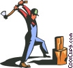 Vector Clipart illustration  of a man with axe splitting wood