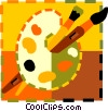 paint brushes and palette Vector Clip Art graphic