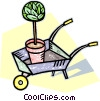 Vector Clip Art graphic  of a wheelbarrow with a tree