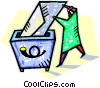 Vector Clip Art image  of a document being placed in trash