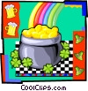 St. Patrick's Day pot of gold at end of rainbow Vector Clip Art picture