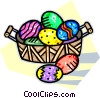 Vector Clipart illustration  of a Easter basket of decorated