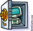 computer in a bank vault Vector Clip Art image