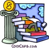 Vector Clipart illustration  of a man climbing stairs of books