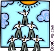 Vector Clip Art picture  of a businessmen forming a pyramid