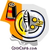 Vector Clip Art image  of a fish dinner