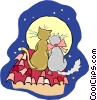 Vector Clipart picture  of a cats looking at the moon
