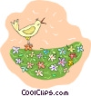 bird singing in the flowers Vector Clipart graphic