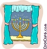 Vector Clipart graphic  of a Jewish religion menorah