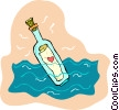 Vector Clipart graphic  of a message in a bottle with a
