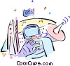 Vector Clip Art graphic  of a outer space exploration