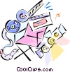 Vector Clip Art graphic  of a movie equipment