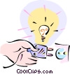 hand plugging in a light Vector Clip Art graphic