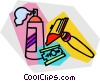 Vector Clip Art image  of a shaving supplies