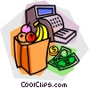 bag of groceries at the cash register Vector Clip Art graphic