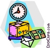 Vector Clip Art graphic  of a packages being weighed