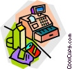 Vector Clipart image  of a groceries at the cash register