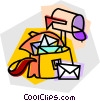 mail box and mail bag Vector Clipart graphic