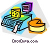 block of cheese on a scale Vector Clipart picture
