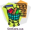 Vector Clipart image  of a grocery cart