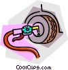 Vector Clip Art image  of an air hose and air gauge