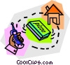 Vector Clip Art image  of a pizza delivery
