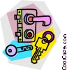 Vector Clip Art image  of a keys with door lock