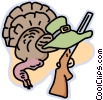 Turkey with gun and hat Vector Clipart picture