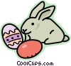 Easter eggs and Easter bunnies Vector Clipart graphic