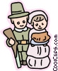 Vector Clipart graphic  of a Pilgrim couple with gun and baked goods
