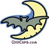 Vector Clipart picture  of a bat flying in the moonlight