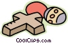 Vector Clip Art graphic  of a Easter eggs and The Cross