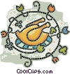 Vector Clip Art graphic  of a Roast turkey dinner