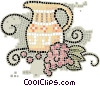 jug of wine with grapes Vector Clipart picture