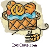 Vector Clip Art image  of a basket of fresh baked goods