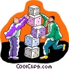 Vector Clipart graphic  of a businessman stacking dice