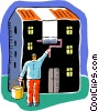Vector Clipart graphic  of a man painting the outside of