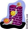 Vector Clipart graphic  of a snails climbing over a brick