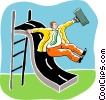businessman sliding on a slide Vector Clip Art graphic