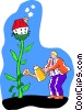 man watering his house with money Vector Clipart picture